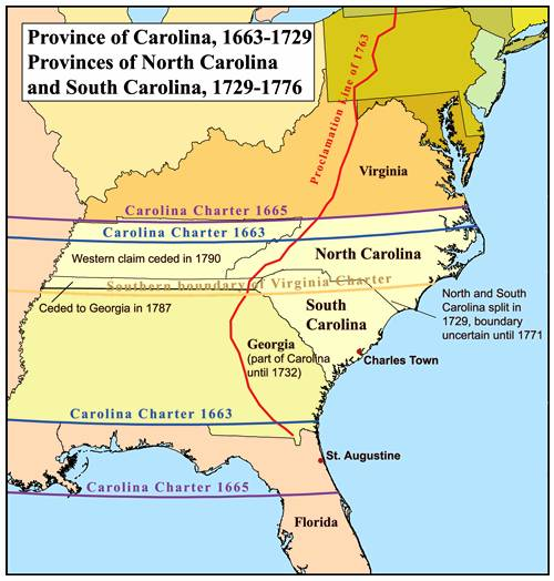 History of Carolina before they divided to NC and SC in 1729.